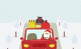 Julhelgdagsafton: gulliga Santa Claus går till en ferie i en röd bil stock illustrationer