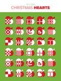 30 julhjärtor royaltyfri illustrationer