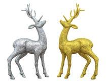 Julhjortar försilvrar och guld som isoleras på vit Arkivfoto