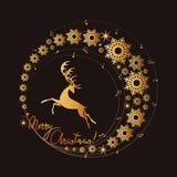 Julhjortar i den guld- cirkeln av musik och snöflingor glad jul royaltyfri illustrationer