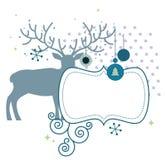 Julhjortar med ramen stock illustrationer