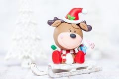 Julhjortar på en släde för garnering Royaltyfri Fotografi