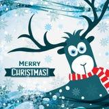 Julhälsningkort med en hjort, vektor Royaltyfri Bild