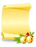 Julhälsningkort med klockor Arkivfoto