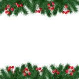 Julhälsningkortet, inbjudan med granträdfilialer och järnekbär gränsar på vit bakgrund Royaltyfri Fotografi