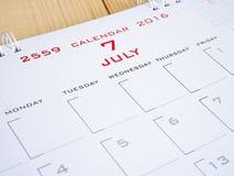 2016 julho na página 1 do calendário Imagem de Stock
