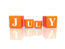 Juli in 3d kubussen Royalty-vrije Stock Foto's