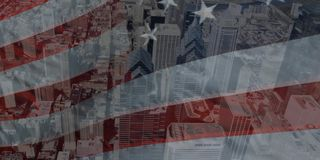 4. Juli amerikanische Flagge, die in den Wind wellenartig bewegt stock footage