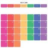 Juli 2018 Anmerkungsraum-Farbwochentage des Planers große auf Weiß Stockfoto