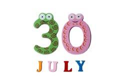 30. Juli Bild vom 30. Juli auf weißem Hintergrund Stockfotos