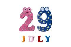 29. Juli Bild vom 29. Juli auf weißem Hintergrund Stockbilder