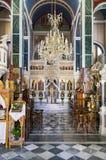 21 juli 2015 - Binnenland van een oude orthodoxe kerk in Kimolos-eiland, Cycladen, Griekenland Stock Foto's