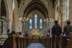 8 juli 2018 - Binnenland van St Alban Kerk Anglicaanse kerk in Kopenhagen, Denemarken royalty-vrije stock fotografie