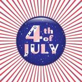 Juli 4 Blauer Ausweis auf einem roten Radialhintergrund Stockbild