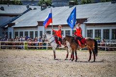 Juli 25, 2015 Ceremoniell presentation av Kremlridningskolan på VDNH i Moskva Arkivfoton