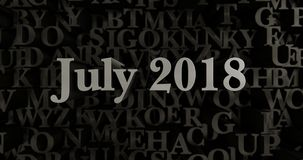 Juli 2018 - 3D teruggegeven metaal gezette krantekopillustratie Royalty-vrije Stock Afbeelding