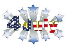 4 juli-3D thema van de onafhankelijkheidsdag Stock Foto's