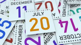 Juli 20 datum på den betonade kalendersidan, tolkning 3D vektor illustrationer