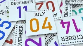 Juli 4 datum på den betonade kalendersidan, tolkning 3D stock illustrationer