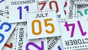 Juli 5 datum på den betonade kalendersidan, tolkning 3D vektor illustrationer