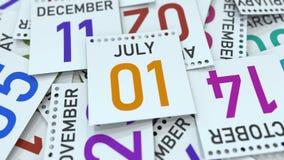 Juli 1 datum på den betonade kalendersidan, tolkning 3D vektor illustrationer