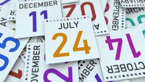 Juli 24 datum på kalenderbladet bland andra sidor, tolkning 3D royaltyfri illustrationer