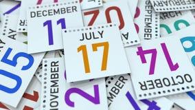 Juli 17 datum på kalenderbladet bland andra sidor, tolkning 3D stock illustrationer