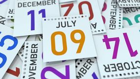 Juli 9 datum på kalenderbladet bland andra sidor, tolkning 3D stock illustrationer