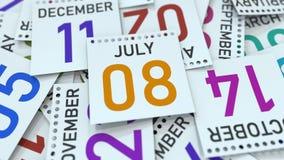 Juli 8 datum på kalenderbladet bland andra sidor, tolkning 3D vektor illustrationer