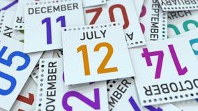 Juli 12 datum p? kalenderbladet framf?rande 3d stock illustrationer