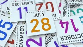 Juli 28 datum p? kalendersidan framf?rande 3d royaltyfri illustrationer