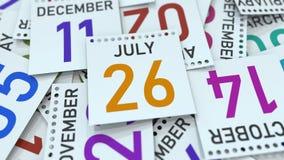 Juli 26 datum p? kalendersidan framf?rande 3d vektor illustrationer