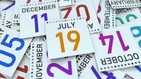 Juli 19 datum p? kalendersidan framf?rande 3d royaltyfri illustrationer