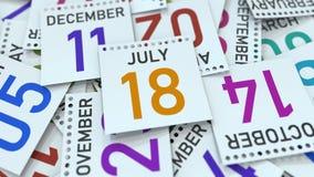 Juli 18 datum p? kalendersidan framf?rande 3d stock illustrationer