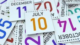 Juli 10 datum p? kalendersidan framf?rande 3d vektor illustrationer