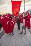 15 juli de Protesten van de Staatsgreeppoging in Istanboel Stock Foto's