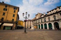 6 juli, 2013 De stad van Italië van Brescia Oude Europese stad van Brescia in het gebied van Lombardije in de zomer stock foto's