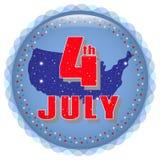 Juli 4 Dieses ist Datei des Formats EPS10 Grußkarte mit einem Feiertag Unabhängigkeitstag, am 4. Juli Lizenzfreie Stockfotografie