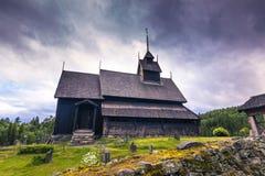 Juli 18, 2015: Eidsborg Stave Church, Norge Arkivfoto