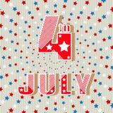 Juli 4 Einfache Artgrußkarte Feiertags-Unabhängigkeitstag am 4. Juli Helle Aufschrift Juli 4. Auch im corel abgehobenen Betrag Lizenzfreie Stockbilder