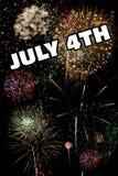 4 juli en Nieuwjaren van Eve Holiday Fireworks Display Royalty-vrije Stock Foto's