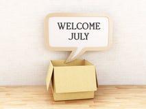 juli för välkomnande 3d text stock illustrationer
