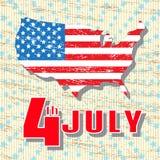 Juli 4 Feiertags-Unabhängigkeitstag am 4. Juli Grußweinlese, Retro- Karte Karte von Amerika in den Farben der Staatsflagge Stockfoto