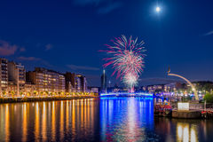 14. Juli Feuerwerke in Liège Stockbild