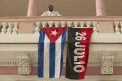 26 Juli flagga och kubansk flagga, havannacigarr, Kuba Royaltyfri Foto