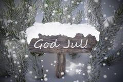 Juli för gud för träd för teckensnöflingagran genomsnittlig glad jul Royaltyfria Foton