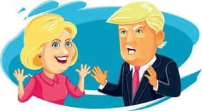 Juli 30, 2016 förlöjligar teckenillustrationen av Hillary Clinton och Donald Trump Arkivfoton