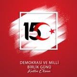 15 Juli, Gelukkige de vieringsachtergrond van de Republiek Turkije van de Vakantiedemocratie, nieuw embleem, vector royalty-vrije illustratie