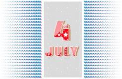Juli 4 Grußkarte, Fahne Feiertags-Unabhängigkeitstag am 4. Juli Muster des symmetrischen Ausstrahlensternes Lizenzfreies Stockfoto