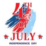 Juli 4 Helle Aufschrift am 4. Juli auf einem weißen Hintergrund mit Pinselstrichen füllte mit Sternen Unabhängigkeitstag, am 4. J Lizenzfreies Stockfoto